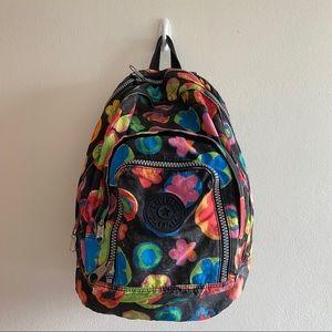 Kipling Harper Backpack Black Multicolor Flowers